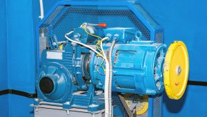 Mounted Winch And Motor Assembly Blue